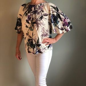 Anthropologie Silk Floral Blouse - Ivory Purple